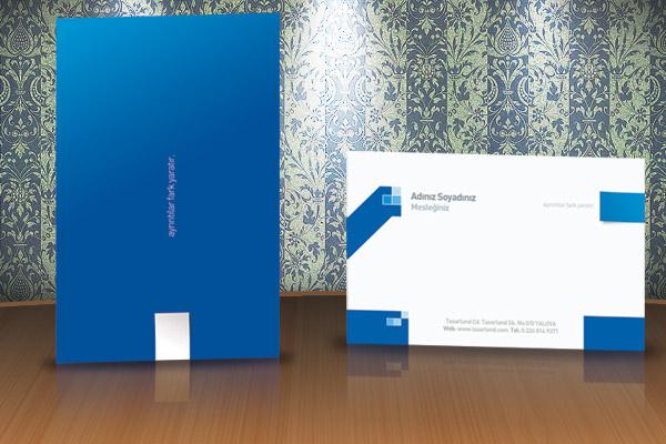 Düz mavi kartvizit