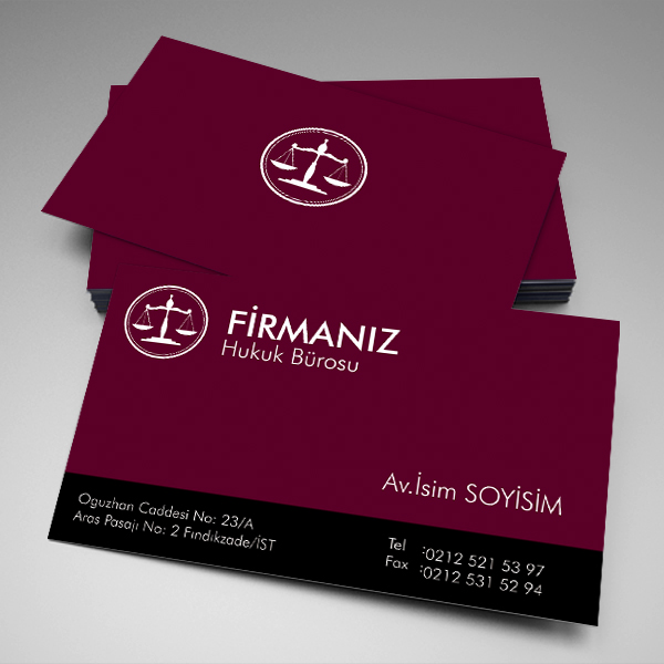 Avukat Kartvizit Kırmızı Zeminli Logolu