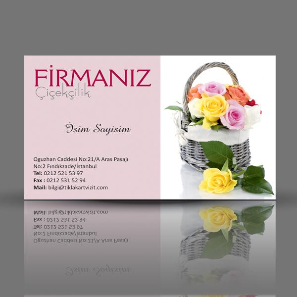 Çiçekçi kartvizit çiçek sepeti