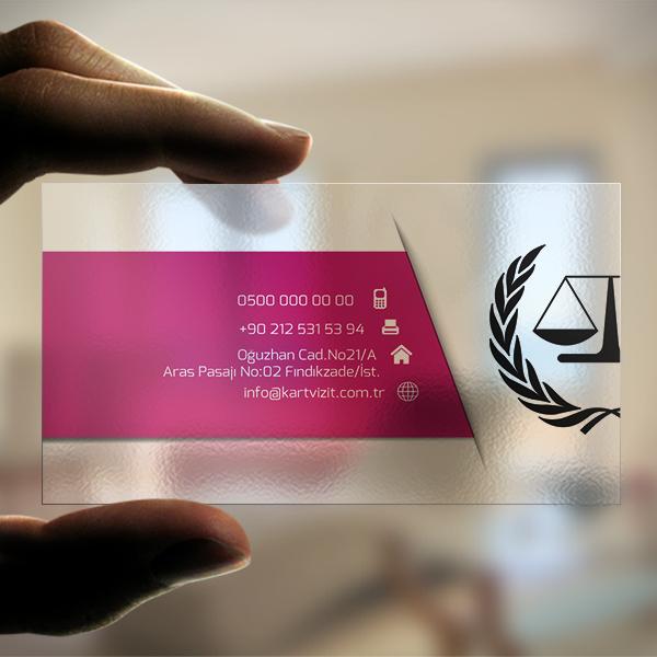 Şeffaf Kartvizit - avukat logolu
