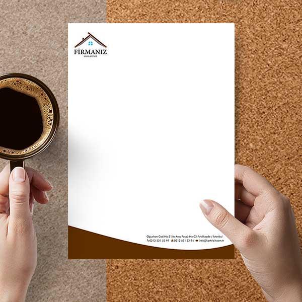 Emlak Antetli Kağıt - Kahve Rengi