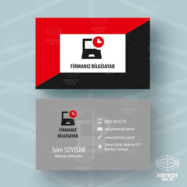Kırmızı Siyah Bilgisayar Kartvizit