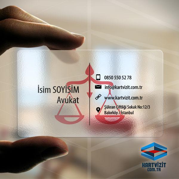 Şeffaf Avukat Kart Mavi Pembe