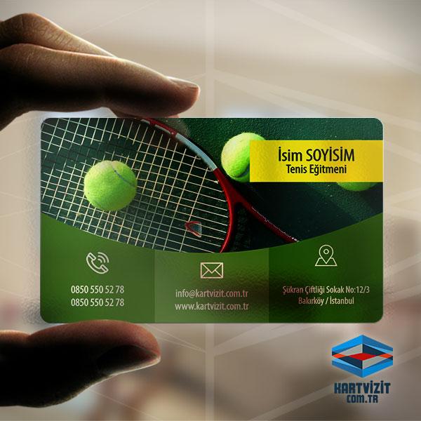 Tenis Eğitmeni Şeffaf Kartvizit