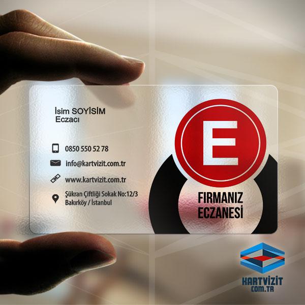Eczane Şeffaf Kartvizit Yuvarlak E Logo