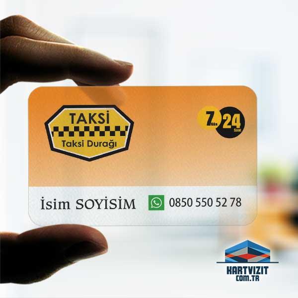 Taksi Durağı şeffaf kartvizit
