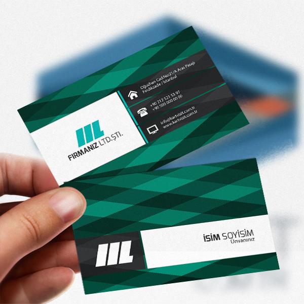 Yeşil Ekoseli özel kartvizit